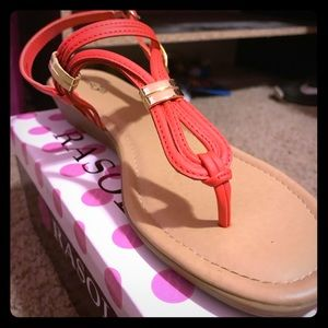 Read and gold wedge sandals